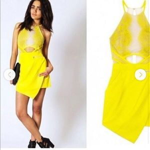 Three Floor Cut Out Yellow Dress/Lace Romper